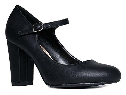 Mary Jane High Heel - Cute Round Toe Block Heel - Classic Comfortable Easy Dress Shoe - Skippy by J Adams, Black Pu, 11 B(M) US