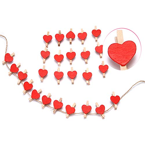ZONYEO 50 pcs Wooden Clothespin w/Jute Twine Nails Red Heart-shapedCraft Clips Letters for Scrapbooking Crafts Wedding Decoration
