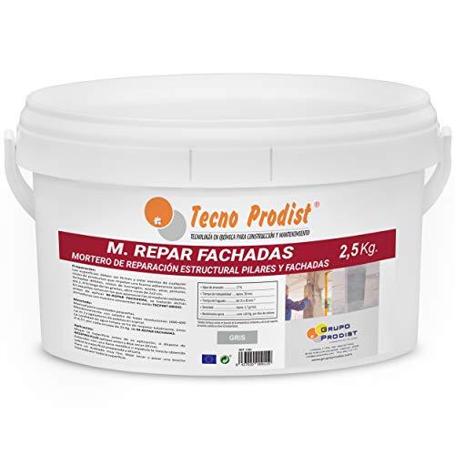 M-REPAR FACHADAS de Tecno Prodist - (2,5 Kg) Mortero estructural para reparaciones de fachadas, cornisas, pilares. - Contiene cemento, áridos y fibras especiales.