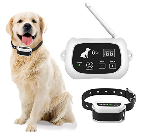 INCHOI Wireless Dog Fence,Dog Containment System,IP65 Waterproof Boundary Container,Adjustable Pet Training Collar Receiver,Harmless for All Dogs (White)