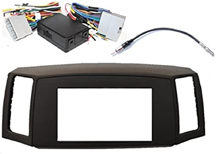 Double Din Navigation Radio Bezel Dash Install Kit with Premium Wiring Harness with and Antenna Adapter - KHAKI Fits Jeep Grand Cherokee 2005-2007