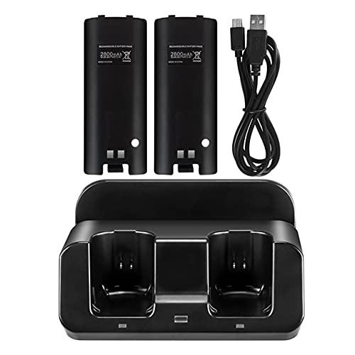 MARSPOWER 3 en 1 para la estación de Carga de Wii U para el Controlador de Wii U Estación de Carga de Wii con 2 para la batería de Las baterías de Wii - Negro