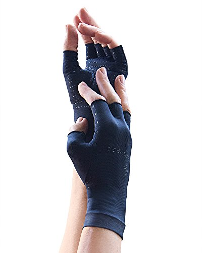 Tommie Copper Women's Motion Fingerless Gloves, Black, Medium