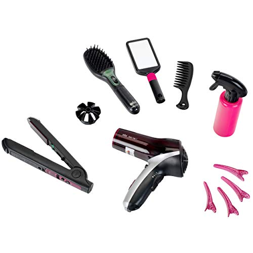 Theo Klein 5873 Set de peluquería Satin Hair 7, Con plancha para el pelo, cepillo y mucho más, Secador a pilas, Medidas del embalaje 49.5 cm x 8 cm x 26 cm, Juguete para niños a partir de 3 años