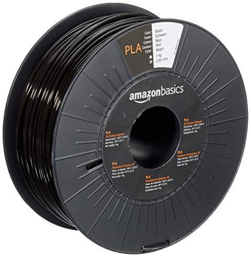 Amazon Basics - Filamento para impresora 3D, ácido poliláctico (PLA), 2.85 mm, cinta de 1 kg, negro