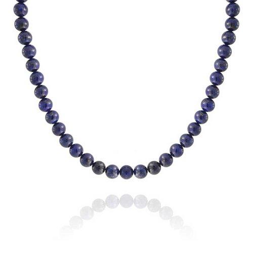 Lapis-Lazuli Bleu 10MM Ronde Perle Brin Collier Femme Homme Fermoir Plaqué Argent 16 Cm