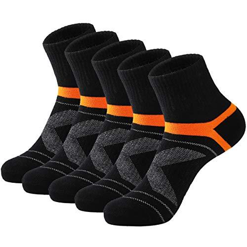 Nanxson 5 Paar Herren Sneaker Socken Kurze Sportsocken Laufsocken Baumwolle Kompression Socke Atmungsaktiv (39-45, Schwarz-40)