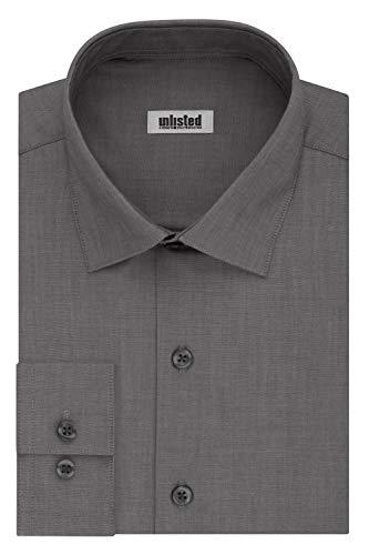 Kenneth Cole Unlisted Men's Dress Shirt Slim Fit Solid ,  Slim Graphite,  17'-17.5' Neck 34'-35' Sleeve