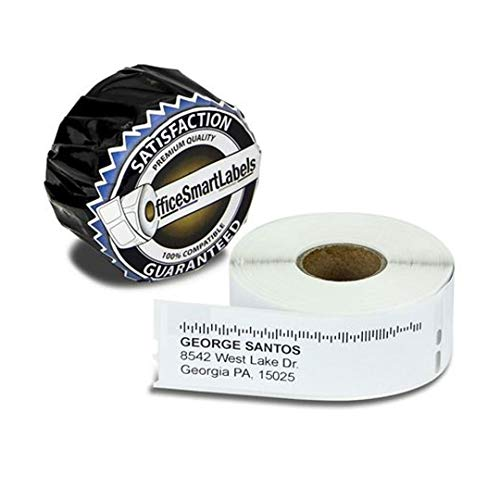 """OfficeSmartLabels - 1-1/8"""" x 3-1/2"""" Self-Adhesive White Address Labels, Compatible with 30572 (10 Rolls, 260 Labels Per Roll)"""