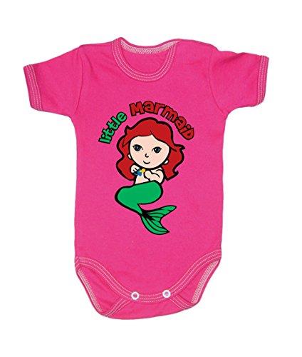 Couleur Mode bébé Marmaid bodies à manches courtes 100% coton Petit bébé – 24 mois – 0011 rose 0-3 months, 62 cm
