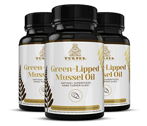 TURNER Green Lipped Mussel Oil New Zealand,  Omega 3 with UAF1000+, Joint Pain Relief and Inflammation Supplement, Heart and Immune Support, No Fishy Aftertaste,  450mg, 3 Pack, 180 Count