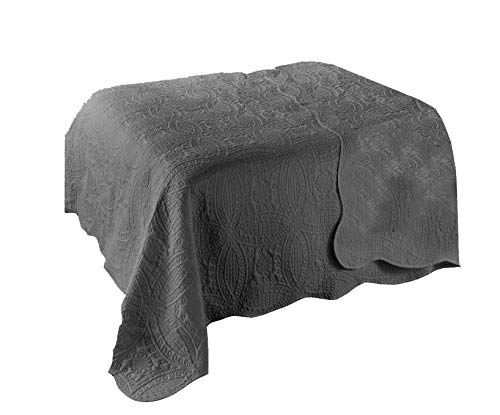 Dynamic24 Landhaus Tagesdecke 220x240cm Bettüberwurf Bett Decke Überwurf Paisley Pique (Grau)