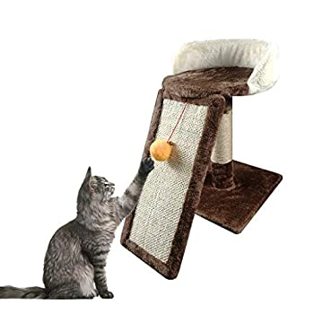 YLLYLL Arbre à Chat Activité Centre Kitten Scratching Post Kitty Tour d'escalade Mobilier Playhouse avec Dangling Boule Jouets Brown (Color : #2)
