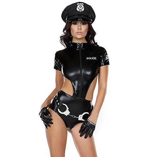 KOZSF Lingerie Trasparente Disfraces De Policía De Mujer De Imitación De Cuero Sexy 2017 Mujer Esposas De Policía Holloween Cosplay Disfraz Juego De Roles Policías Catsuits-Negro_M