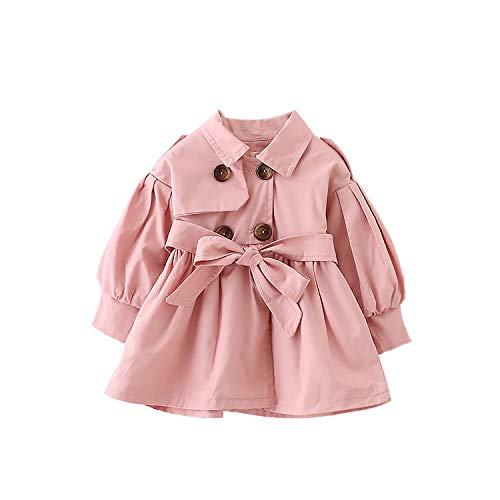 FullGood Toddler Girl Spring Autumn Windbreaker Jacket Trench Coat Pink 1-2 Years