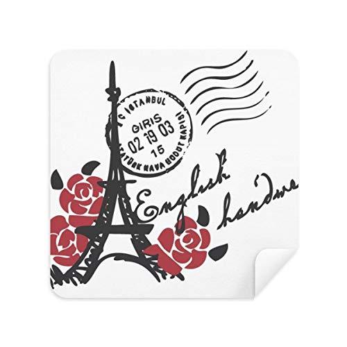 Eiffeltoren rozen Frankrijk Parijs stempel stijl bril schoonmaken doek telefoon scherm reiniger Suede stof 2 stks