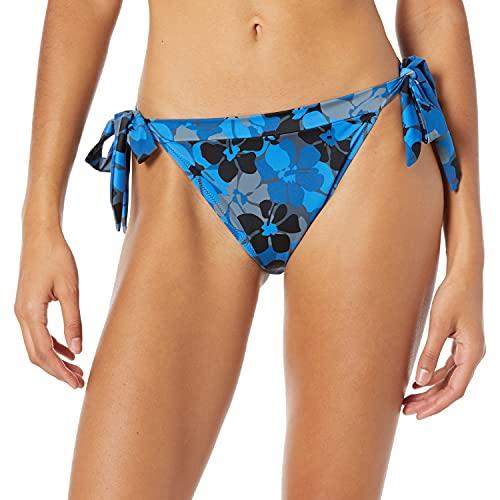 Amazon Essentials Women's Side Tie Bikini Swimsuit Bottom, Blue Floral, M