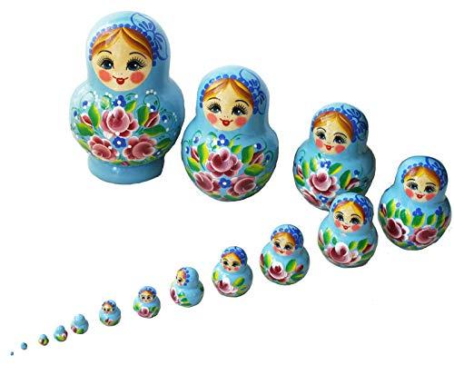 Semenowskaja Rospis Matroschka, Puppen Babuschka Holzpuppe Figuren Katja, dunkelblau Set 15 Matroschkas 14cm (blau)
