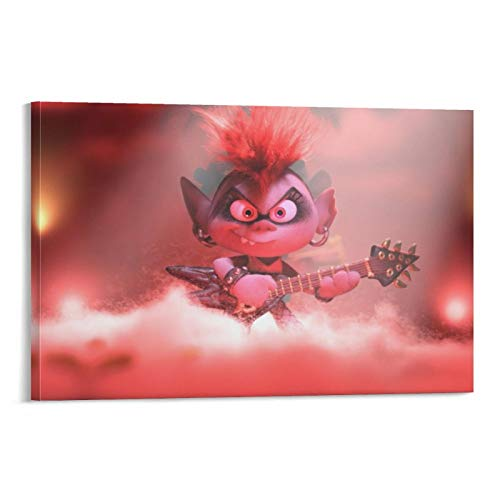 crownee Art Prints Trolls World Tour Queen Barb Electric Guitar Canvas Wall Art for Living Room Bedroom 12x08inch(30x20cm)