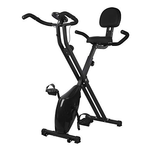 DnKelar Magnetische X-Bike, Heimtrainer Fahrrad für zuhause mit einstellbare Sitzhöhe, Faltbare Heim Sitzfahrrad mit Digitaler Monitor, Beintrainer Fahrradtrainer, Fitness Bike (Schwarz)