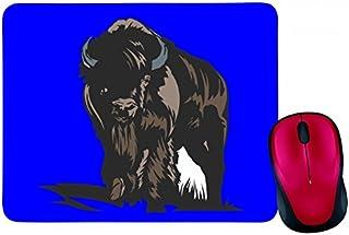 """'Alfombrilla de ratón """"Toro con cuernos en blanco y negro azul de rosa de amarillo de color rojo de verde   Mousepad–Rat..."""