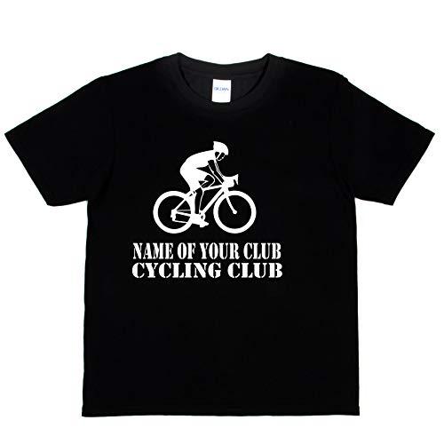 Print4U Kinder Fahrrad-T-Shirt, Name des Clubs Here Gr. 1-2 Jahre , Schwarz