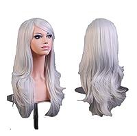 XueQing Pan 70CM長い髪のかつら銀線の空気高い温度 (Color : Gray)