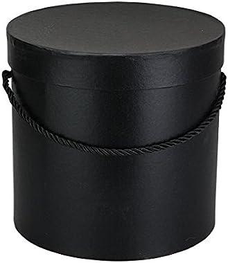 Für größere Ansicht Maus über das Bild ziehen Boîte à déco ronde noire avec cordon de serrage noir, boîte de rangement avec c