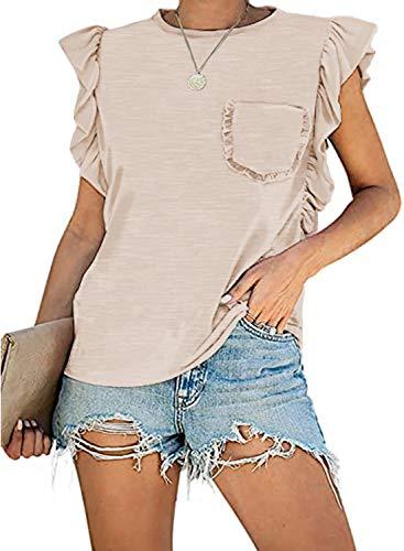 MIHOLL Womens Summer Tank Tops Casual Sleeveless Shirt Tops (Small, Oatmeal)
