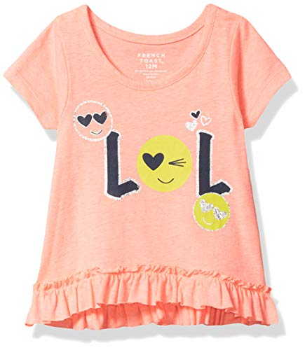 French Toast Baby Girls' Short Sleeve Ruffle Hem Graphic Tee, Neon Candy Heather, 18 Months