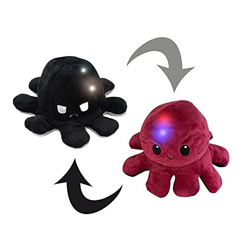 Lumineszierend Flip Plüsch Oktopus Tik Tok Stimmungs Kuscheltier Doppelseitiges qualle Kuscheltier Leuchtender Reversible Tintenfisch Kinder Süß Tier Cartoon Spielzeuge mit LED-Licht
