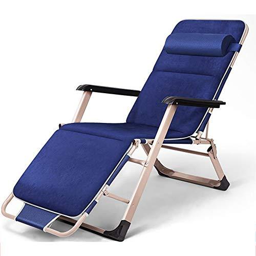 Relaxliege Liegestuhl, Verstellbar Freizeitliege, Gartenliege Klappbar Sonnenliege, Aluminiumrahmen Dreibeinliege mit 5 cm Dicker Matratze, Abnehmbares Kopfkissen, bis 200 kg belastbar, anthrazit,Blue