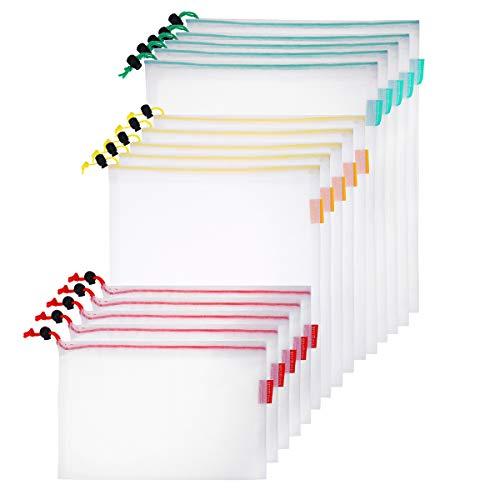 BESTONZON 15PCS Wiederverwendbare Masche Produzieren Taschen mit Kordelzug für Lebensmitteleinkauf und Lagerung 3 Größen 31x43cm, 31x36cm, 31x20cm