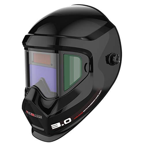 Tekware Anti-Fogging True Color Auto Darkening Welding Helmet Large Viewing Screen Area Solar Battery Best for Men