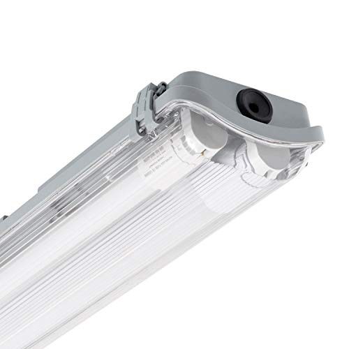 LEDKIA LIGHTING Kit Pantalla Estanca Slim con dos Tubos LED 600mm Conexión un Lateral Blanco Frío 6000K - 6500K
