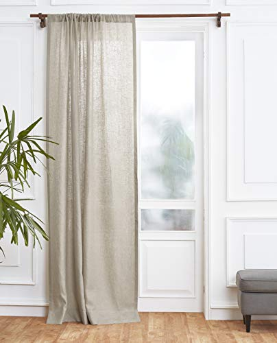 Solino Home 100% Pure Linen Curtain – 52 x 84 Inch Natural Lightweight Rod Pocket Window Panel – Handcrafted from European Flax