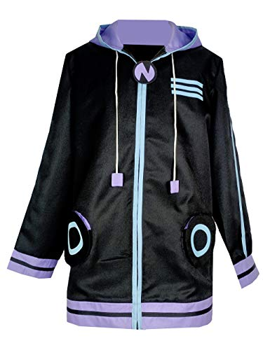 Lvcos Netune Purple Heart Hoodie Clothing Hyperdimension Neptunia Cosplay Costume Black (Male XXL)