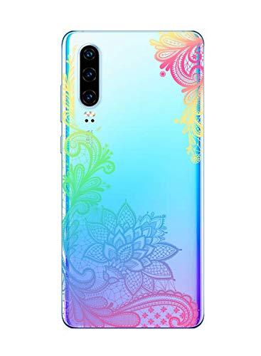 Suhctup Funda Compatible con Huawei Mate 10 Pro,Carcasa Protectora de Silicona Transparente TPU Bumper con Floral Diseño,Ultra Fina Anti-Choques y Anti-Arañazos Resistente Case,Blanca