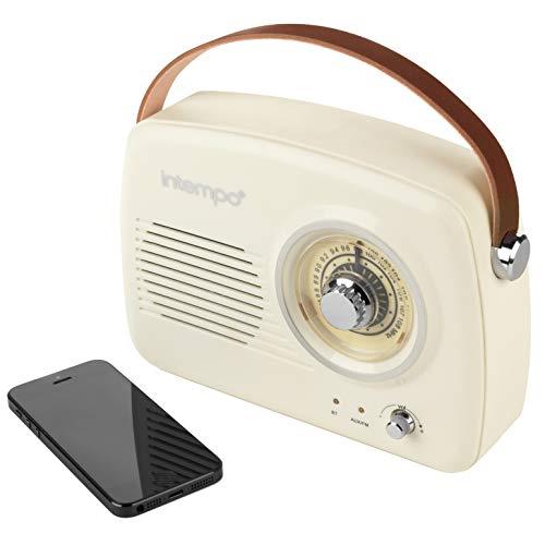Intempo® EE3332CRMSTKEU Bluetooth-Lautsprecher mit UKW-Radio und Ledertrageschlaufe für Android und andere Smart-USB-Geräte, 21cm, Creme