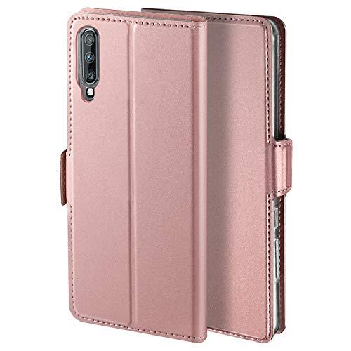 HoneyCase für Handyhülle Samsung Galaxy A7 2018 Hülle Premium Leder Flip Schutzhülle für Samsung Galaxy A7 2018 Tasche, Rose Gold