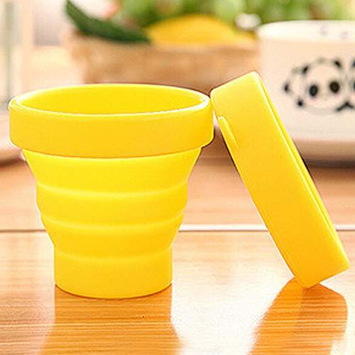 Huixindd Linda Taza de Agua de los Deportes de Viaje telescópicos Ultra-Delgada Plegado de la Taza de Agua de los Deportes con la Taza de café para niños Disponible (Cor : Yellow, Envio de : China)