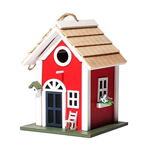 Birdhouses GONADecoración del Patio Jaula de anidamiento de la casa del pájaro o Exterior Madera Colgante pájaro Hotel Caja de Nido Alto-Perico, comedero ecológico Sparrows