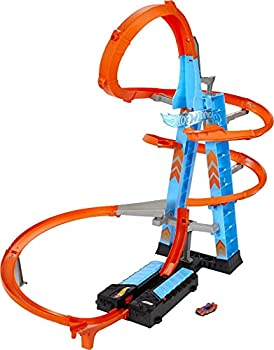 Hot Wheels Sky Crash Tower Track Set 2.5+ ft High with Motorized Booster Orange Track & 1 Vehicle Race Multiple Cars Gift for Kids 5 to 10 Years Old & Up