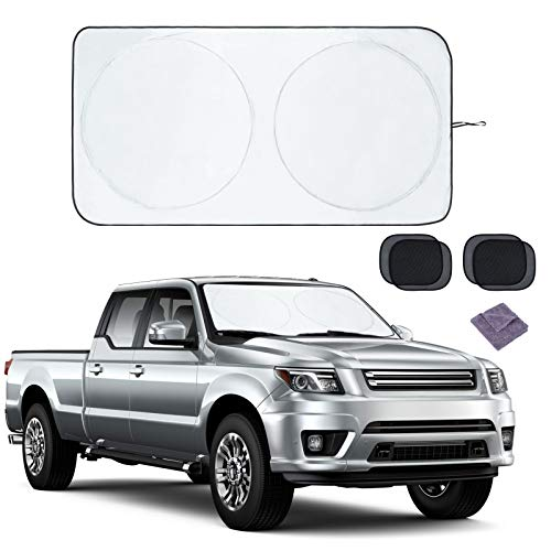 Car Windshield Sun Shade, Foldable Car Sun Shade for Windshield, 63' x 33.8' Window Visor Sun Shade, Block UVs Keep Vehicles Cooler, Fit Most Cars SUVs, with 4 Side Window Sunshades