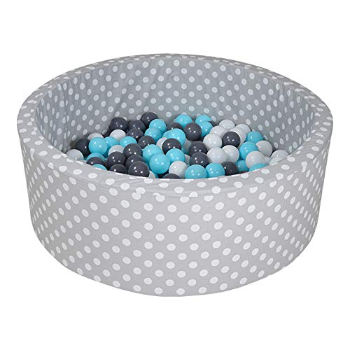 Knorrtoys 68151 - Bällebad Soft - Grey White dots - 300 Bälle Creme/Grey/lightblue