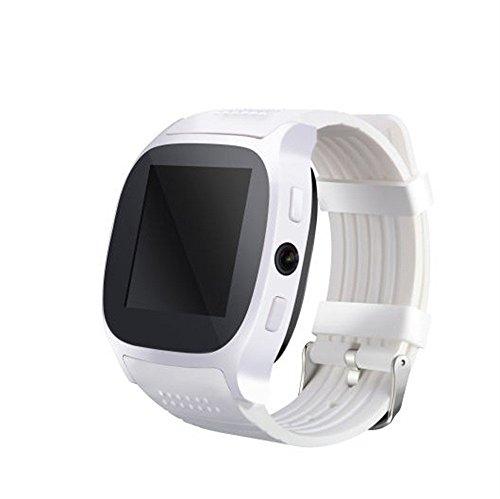 Smartwatch Inteligente BT GPS Compatible con cámaras SIM y TFcard,Anti-pérdida bidireccional,Control Remoto de Fotos,monitoreo del sueño,Deportiva Reloj,envío de SMS,Redes sociales,etc (Blanco)