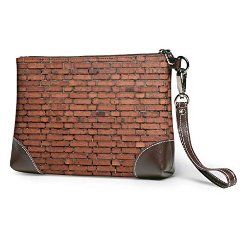 Red Brick Wall Texture1 Women's Leather Wristlet Clutch Bag Large Square Wristlet Purse Wallet With Strap-Stylish And Durable