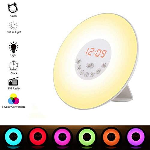 Wake Up Light Despertador Luz, Infantil Luces Despertador de LED + Cable USB, Control Táctil Salida del Sol/Puesta del Sol/Radio FM/6 Sonidos Naturales/7 Cambio de Color LED Luz/10 Niveles de Brillo