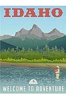 渓流旅行ポスターでアイダホフライフィッシング 1000枚の木のパズル脳が美しいアクセサリーに挑戦します。