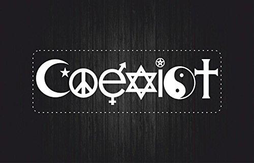 Akachafactory Aufkleber Sticker Auto Motorrad Coexist Frieden Tolerance Religion weiß